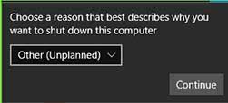 Shutdown Event Tracker در ویندوز
